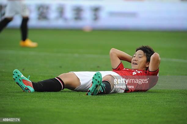 Tomoya Ugajin of Urawa Red Diamonds during the J.League match between Urawa Red Diamonds and Gamba Osaka at Saitama Stadium on November 22, 2014 in...
