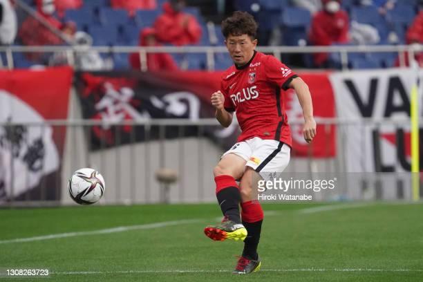 Tomoya Ugajin of Urawa Red Diamonds in action during the J.League Meiji Yasuda J1 match between Urawa Red Diamonds and Kawasaki Frontale at the...