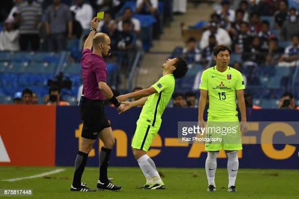 Tomoya Ugajin of Urawa Red Diamonds is reacts after shown an yellow card during the AFC Champions League Final 2017 first leg between AlHilal and...