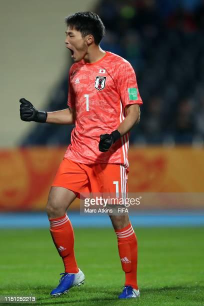 Tomoya Wakahara of Japan reacts after saving a penalty during the 2019 FIFA U20 World Cup group B match between Japan and Ecuador at Bydgoszcz...