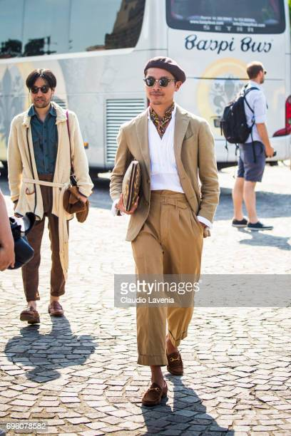 Tomoyoshi Takada is seen during Pitti Immagine Uomo 92 at Fortezza Da Basso on June 14 2017 in Florence Italy