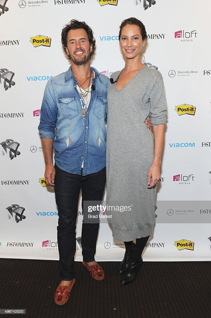 Toms Founder, Blake Mycoskie (L) and model Christy Turlington Burns appear during The Fast Company Innovation Festival presentation of 'The Creativity Of Giving: TOMS Founder Blake Mycoskie and Social Entrepreneur Christy Turlington Burns On How Giving Makes For Better Business' on November 11, 2015 in New York City.