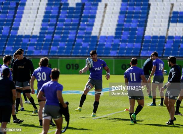 Tomás Lavanini of Argentina controls the ball during Argentina Captain's Run before the The Rugby Championship 2018 match against South Africa at...