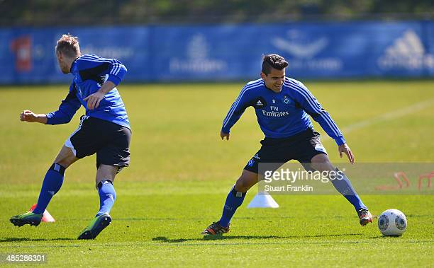 Tomás Rincón of Hamburger SV in action during the training session of Hamburger SV on April 17 2014 in Hamburg Germany