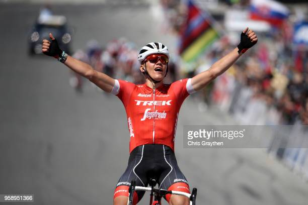 Toms Skujins of Latvia and Team Trek Segafredo celebrates after winning stage three of the 13th Amgen Tour of California, a 197km stage from King...