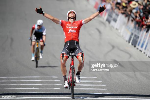 Toms Skujins of Latvia and Team Trek Segafredo celebrates after winning stage three of the 13th Amgen Tour of California a 197km stage from King City...