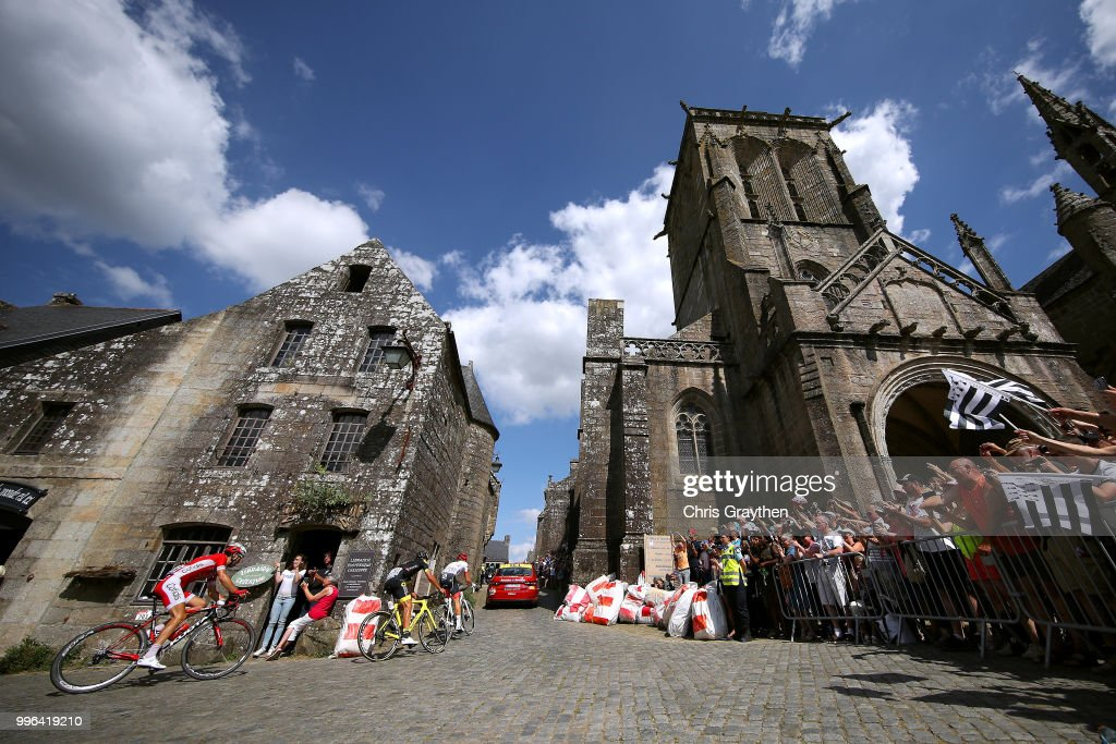 Toms Skujins of Latvia and Team Trek Segafredo, Lilian Calmejane of France and Team Direct Energie and Nicolas Edet of France and Team Cofidis / Locronan City / Church / ride in the breakaway during stage five of the 105th Tour de France 2018, a 204,5km stage from Lorient to Quimper on July 11, 2018 in Quimper, France.
