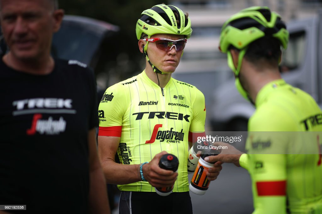 Toms Skujins of Latvia and Team Trek-Segafredo / during the 105th Tour de France 2018, Training / Team Time Trial / TTT / TDF / on July 5, 2018 in Cholet, France.