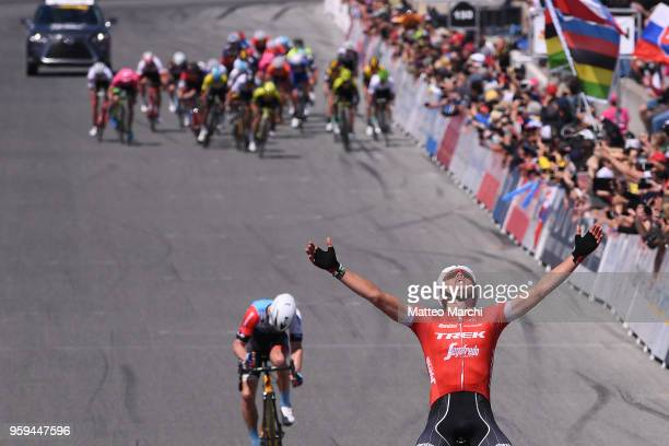 Toms Skujins of Latvia and Trek-Segafredo wins and celebrates on stage three of the 13th Amgen Tour of California, a 197km stage from King City to...