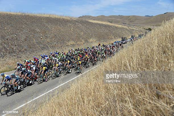 Toms Skujins of Latvia riding for Hincapie Racing Team in the yellow jersey rides during stage four of the 2015 Amgen Tour of California from Pismo...