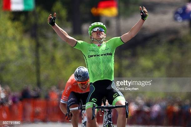 Toms Skujins of Latvia, riding for team Cannondale Pro Cycling celebrates after winning stage five of the Amgen Tour of California from Lodi to South...