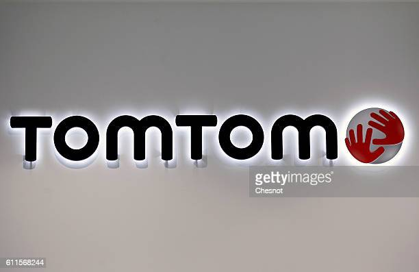 TomTom navigation system logo is displayed during the second press day of the Paris Motor Show on September 30 in Paris France The Paris Motor Show...