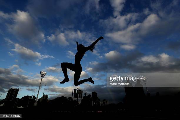 Tomysha Clark competes in the Women's Long Jump during the 2020 Sydney Track Classic at Sydney Olympic Park Athletic Centre on February 22, 2020 in...