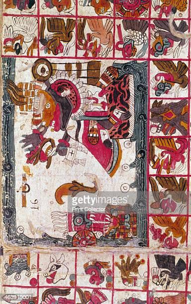 Tonalamatl Aubin Folio 16 15th century PreColumbian style Aztec Tonalamatl a religious manuscript painted on agave paper From the Biblioteque...