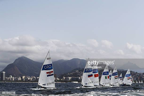 Tonci Stipanovic of Croatia competes during the Men's Laser Race 1 on Day 3 of the Rio 2016 Olympic Games at Marina da Gloria on August 9 2016 in Rio...