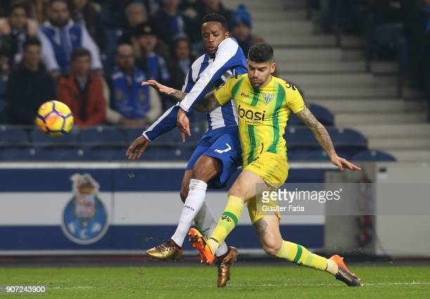 Tondela defender Joaozinho from Portugal with FC Porto forward Hernani Fortes from Portugal in action during the Primeira Liga match between FC Porto...
