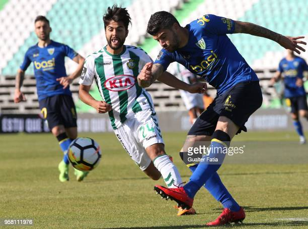 Tondela defender Joaozinho from Portugal with Vitoria Setubal forward Joao Amaral from Portugal in action during the Primeira Liga match between...