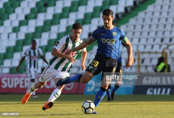 Tondela defender Ricardo Costa from Portugal with Vitoria Setubal forward Andre Pereira from Portugal in action during the Primeira Liga match...