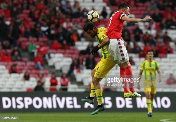 Tondela forward Heliardo from Brazil with SL Benfica midfielder Andreas Samaris from Greece in action during the Primeira Liga match between SL...