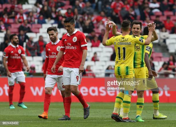 Tondela forward Miguel Cardoso from Portugal celebrates with teammate CD Tondela defender David Bruno from Portugal after scoring a goal during the...