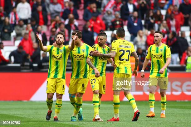 CD Tondela Forward Miguel Cardoso from Portugal celebrating with is team mate after scoring a goal during the Premier League 2017/18 match between SL...