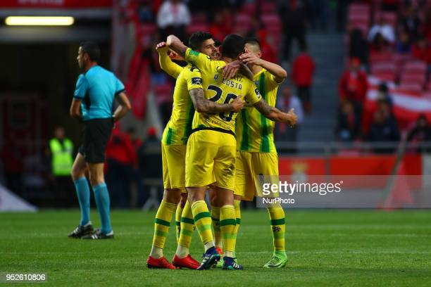 CD Tondela Forward To Mane from Portugal celebrating with is team mate after scoring a goal during the Premier League 2017/18 match between SL...