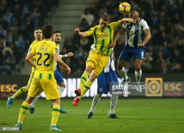 Tondela forward Tyler Boyd from New Zealand with FC Porto forward Yacine Brahimi from Algeria in action during the Primeira Liga match between FC...