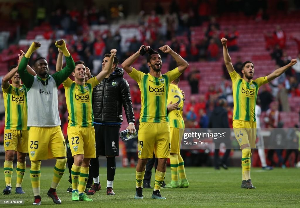 CD Tondela players celebrate the victory at the end of the Primeira Liga match between SL Benfica and CD Tondela at Estadio da Luz on April 28, 2018 in Lisbon, Portugal.