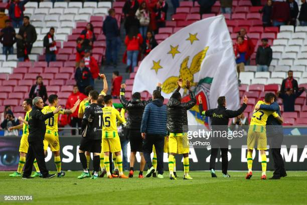 CD Tondela players celebrating with supporters after win the match during the Premier League 2017/18 match between SL Benfica vs CD Tondela at...