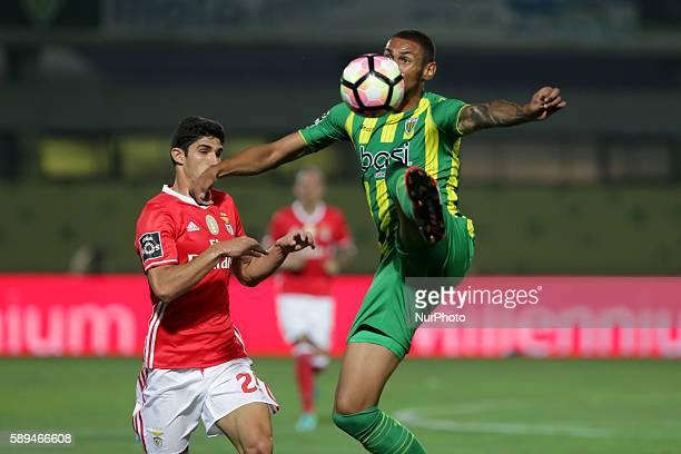 Tondela's Brazilian defender Rafael Amorim vies with Benfica's Portuguese forward Goncalo Guedes during the Premier League 2016/17 match between CD...
