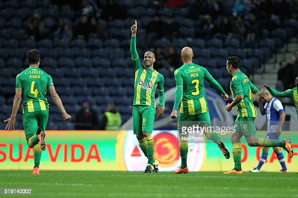 CD Tondela's Brazilian midfielder Luís Alberto celebrates after scoring a goal during the Premier League 2015/16 match between FC Porto and CD...