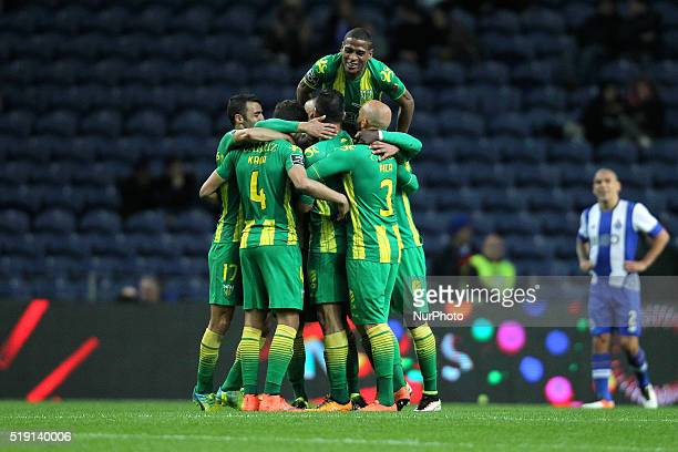 CD Tondela's Brazilian midfielder Luís Alberto celebrates after scoring a goal with team during the Premier League 2015/16 match between FC Porto and...