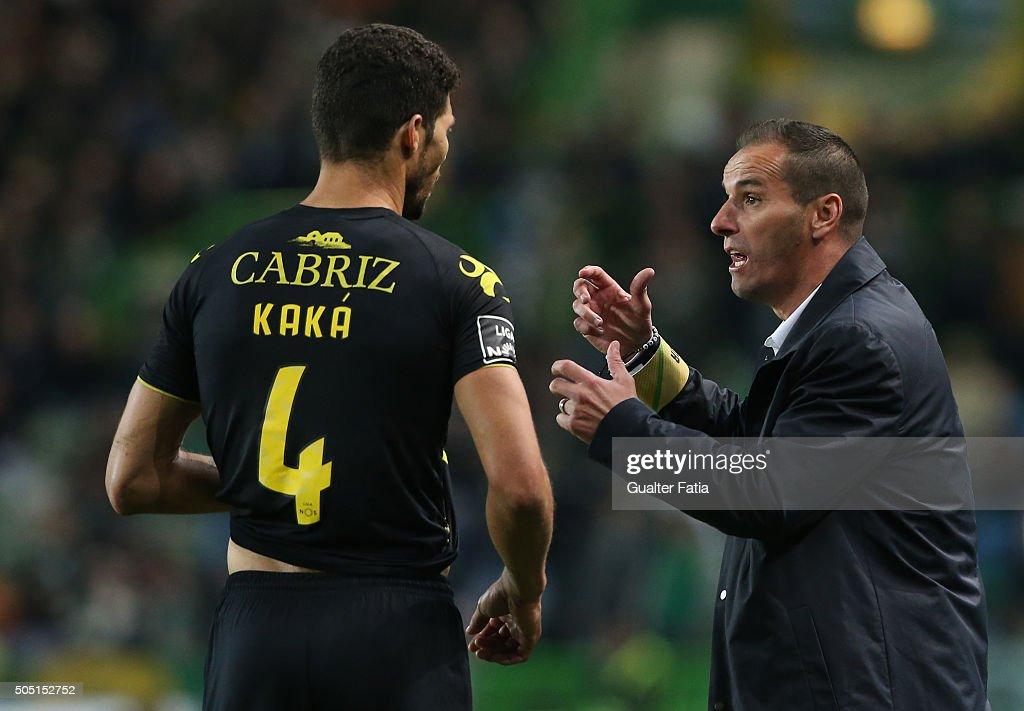 CD Tondela's coach Petit talks to CD Tondela's defender Kaka during the Primeira Liga match between Sporting CP and CD Tondela at Estadio Jose Alvalade on January 15, 2016 in Lisbon, Portugal.