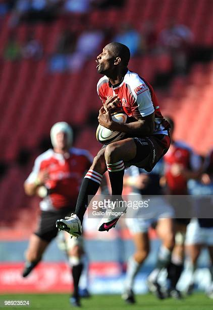 Tonderai Chavhanga of the Lions gets under a high ball during the Super 14 match between Auto and General Lions and Blues at Coca Cola Park on May 08...