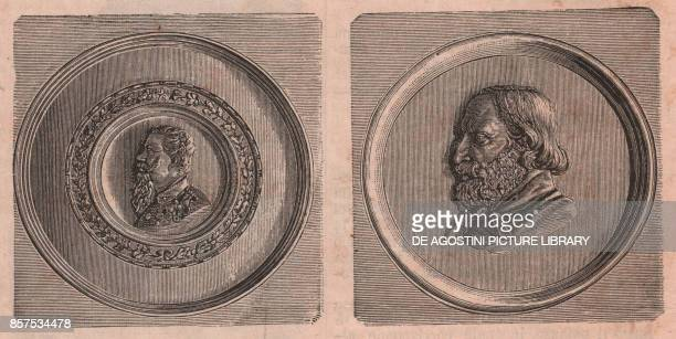 Tondos with effigies of Vittorio Emanuele II and Giuseppe Garibaldi Cento Emilia Romagna Italy woodcut from Le cento citta d'Italia illustrated...