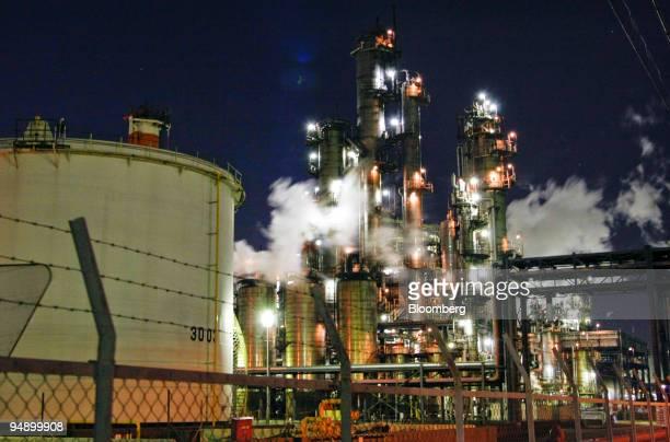Tonen General Sekiyu KK's refinery is illuminated at night in Kawasaki City Kanagawa Prefecture Japan on Wednesday Feb 13 2008 TonenGeneral Sekiyu KK...