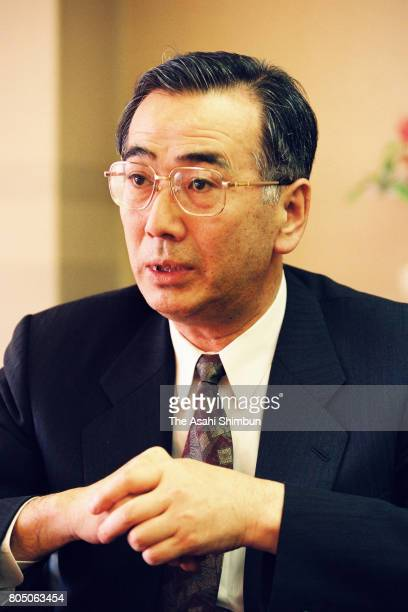 Tonen President Tamehiko Tamahori speaks during the Asahi Shimbun interview at the company headquarters on February 14 1994 in Tokyo Japan