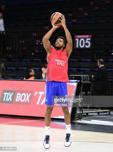 Toney Douglas #23 of Anadolu Efes Istanbul warmsup prior to the 2017/2018 Turkish Airlines EuroLeague Regular Season Round 21 game between Anadolu...