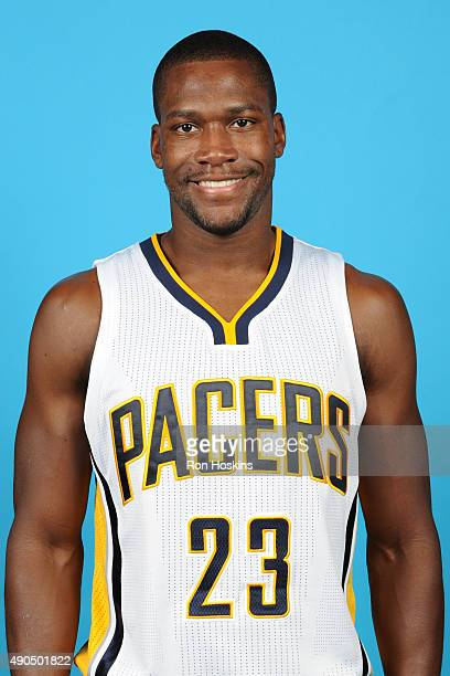 Toney Douglas of the Indiana Pacers poses for a head shot during the Indiana Pacers media day at Bankers Life Fieldhouse on September 28 2015 in...