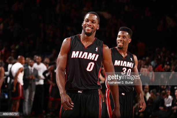 Toney Douglas of the Miami Heat smiles during a game against the New York Knicks at Madison Square Garden in New York City on February 01 2014 NOTE...