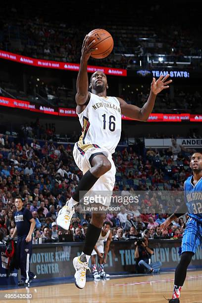 Toney Douglas of the New Orleans Pelicans goes for the layup against the Orlando Magic during the game on November 3 2015 at Smooth King Center in...