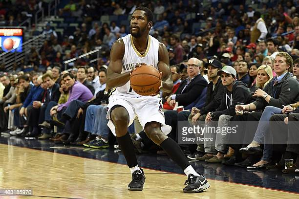 Toney Douglas of the New Orleans Pelicans handles the ball during the first half of a game against the Utah Jazz at the Smoothie King Center on...