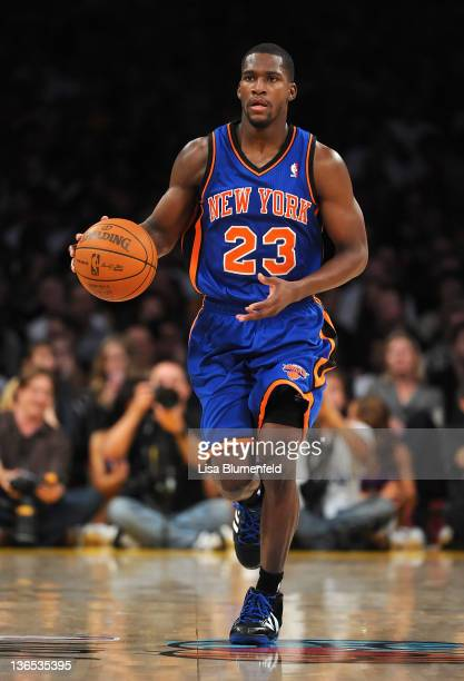 Toney Douglas of the New York Knicks drives the ball upcourt during the game against the Los Angeles Lakers at Staples Center on December 29 2011 in...
