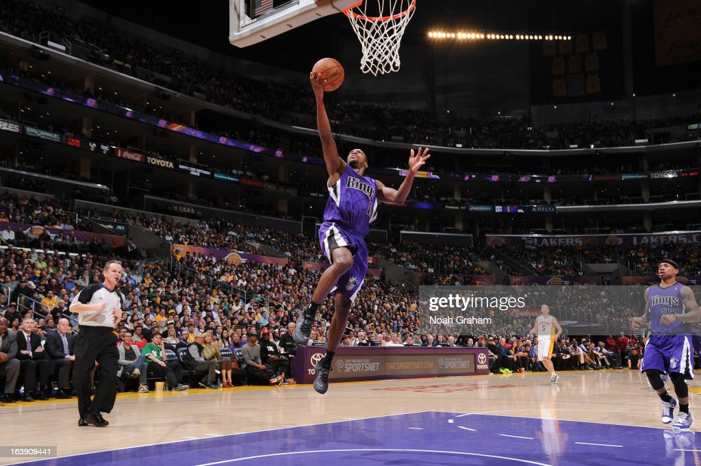 Toney Douglas #0 of the Sacramento Kings shoots a layup on a fast break against the Los Angeles Lakers at Staples Center on March 17, 2013 in Los Angeles, California.