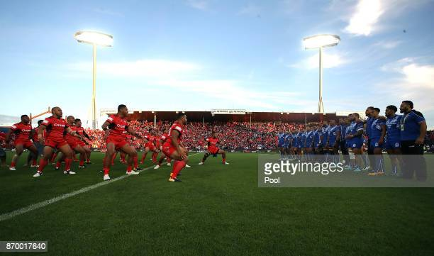 Tonga and Samoa perform the Haka during the 2017 Rugby League World Cup match between Samoa and Tonga at Waikato Stadium on November 4 2017 in...