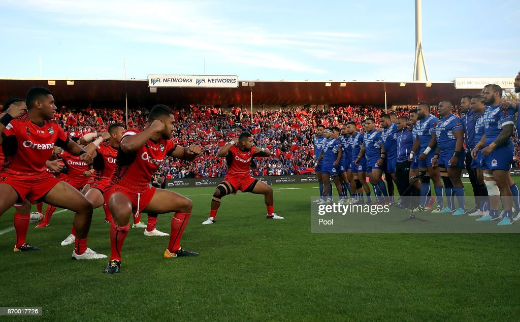 Tonga and Samoa perform the Haka during the 2017 Rugby League World Cup match between Samoa and Tonga at Waikato Stadium on November 4, 2017 in Hamilton, New Zealand.