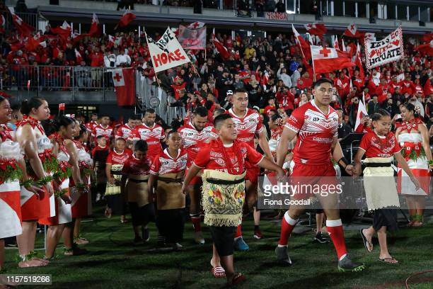 Tonga arrrives during the Oceania league test between the Kiwis and Mate Ma'a Tonga at Mt Smart Stadium on June 22, 2019 in Auckland, New Zealand.