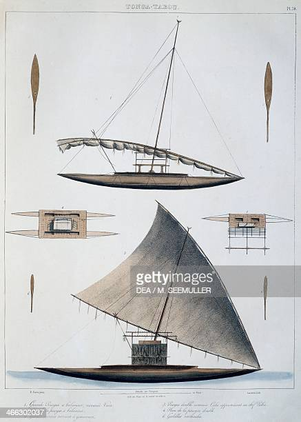Tonga canoes colour engraving from Voyage of discovery of the Astrolabe undertaken by order of the king during the years 18261829 by...