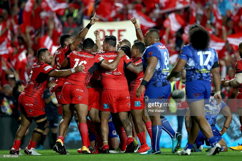 Tonga celebrate a try to Ben Murdoch-Masila during the 2017 Rugby League World Cup match between Samoa and Tonga at Waikato Stadium on November 4, 2017 in Hamilton, New Zealand.