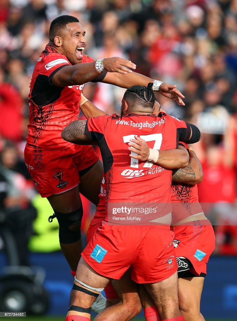 Tonga celebrate the try of Will Hopoate during the 2017 Rugby League World Cup match between the New Zealand Kiwis and Tonga at Waikato Stadium on November 11, 2017 in Hamilton, New Zealand.
